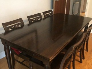 Solid Dark Oak Dining Table & 6 Chairs. Hackney, London
