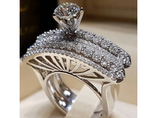 Modyle 2019 New Arrival 2pc/set Crystal Around Silver Classic Rings for Women Girl Anniversary Birthday Ring Set Gift Jewelry