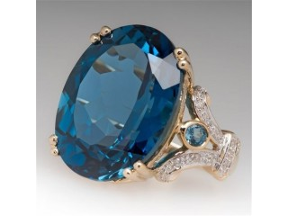 Modyle Blue Stone Large Crystal Rings Silver Color Bride Engagement Wedding Ring Women Ring Jewelry Girl Birthday Gifts