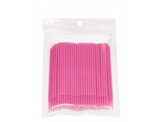 100pcs Pink Durable Micro Disposable Eyelash Extension Makeup Brushes Individual Applicators Mascara Removing Tools Swabs