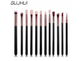 GUJHUI New 12 Pieces/set Pro Makeup Brushes Set Foundation Powder Eyeshadow Eyeliner Lip Blush Make Up Tools S9