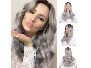 Wig Europe The United States Gray Dyeing Female Long Curly Hair