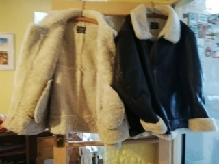Leather sheepskin flying jacket size XL