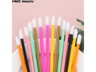 50pcs Disposable Lip Brush Set Lipstick Mascara Wands Brush Cleaning Eyelash Eyebrow Make Up Applicators tools