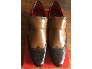 Men's SHOES Leather Slip Ons By RED TAPE BNWT Uk 8 Brown Tan