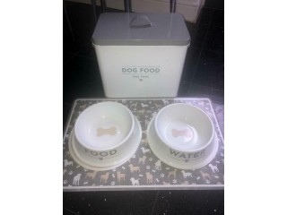 Dog food storage tin food and water bowl