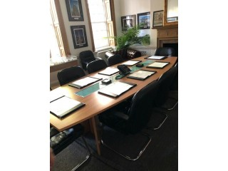 Board Room Table + 11 chairs + 2 Chesterfields + Reception Desk