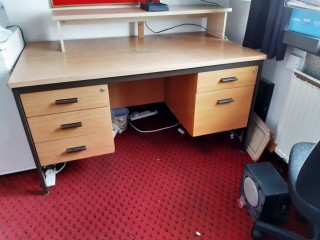 Wooden desk very sturdy office type with 4 drawers and a filing draw
