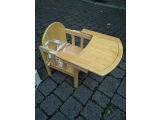 Solid wood baby chair with slide out tray excellent central London bargain