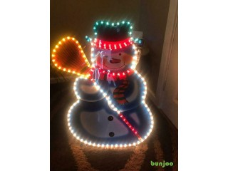 Christmas outdoor decorations x4, Christmas lights, Snowman
