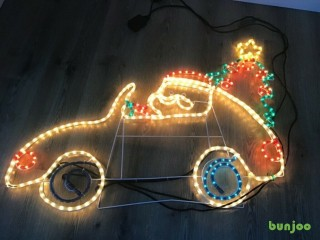 Christmas Lights Santa in a Car