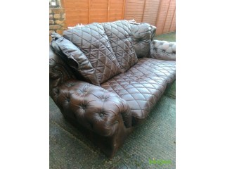 3 SEATER LUXURY LEATHER SOFA HARDLY USED FOR SALE