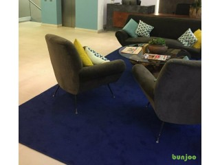 Used, High quality rug - Blue Twist pile with whipped edges