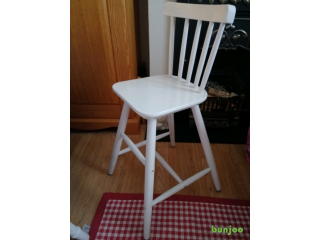 Pine painted white Tall wooden child chair