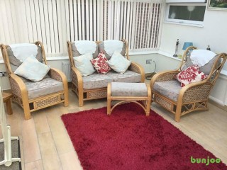Cane furniture, Two seater settee two single chairs and footstool