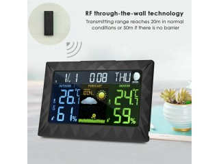 Large LCD Color Weather Station Wireless Thermometer Temp Humidity Outdoor Clock
