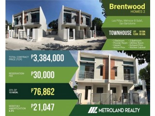BRENTWOOD HOMES LAS PINAS BRANDNEW TOWNHOMES 3BR,20%DP