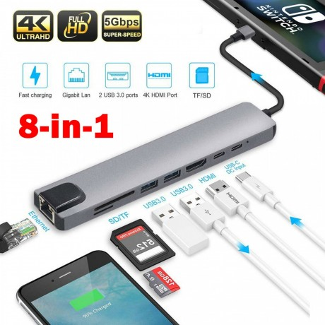 8-in1-usb-c-to-type-c-3-usb-30-hub-hdmi-rj45-ethernet-micro-sdtf-otg-adapter-big-0